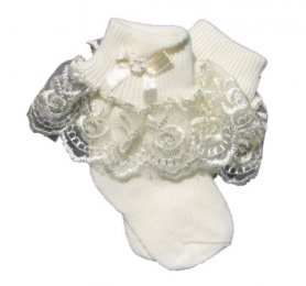 RAGGY DOLL SOCKS - CREAM LACE & BOW