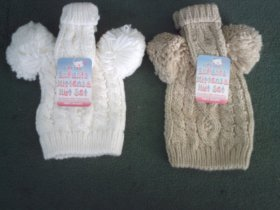 BABY HAT MITTEN SET {6 PAIR PACK} -H482-C/BE-SM