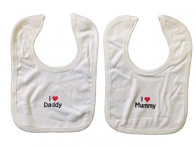 VELCRO BIB - I LOVE MUMMY/ DADDY