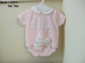 BABY GIRLS SHORT SLEEVE PERLE SUIT - STYLE NO.: 1334 / MC 704
