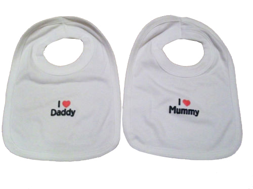 PULL OVER BIBS - I LOVE MUMMY, DADDY